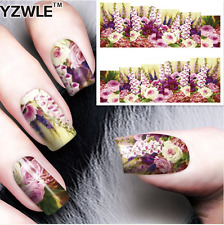 Nail Art Water Decals Stickers Transfers Flowers Purple Foxgloves (A-53)
