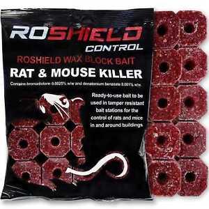 Roshield 600g Rat & Mouse Killer Poison Control Bait Blocks (300g x 2 Packs)