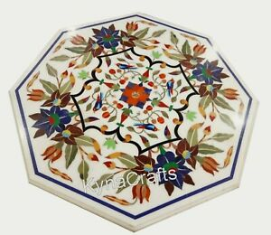 27 Inches Marble Sofa Table Pietra Dura Art Coffee Table Top from Cottage Art