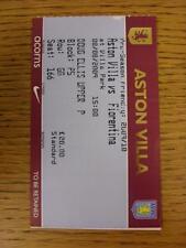 08/08/2009 BIGLIETTO: Aston Villa V Fiorentina friendly [] (lieve piega). questo oggetto