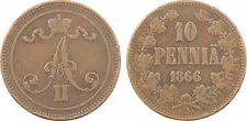 Finlande, 10 pennia, Alexandre II, Grand Duché, 1866, cuivre - 3