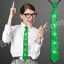 Christmas Holiday Green Sequin Light Up Neckties with Jade Flashing Leds