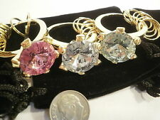 3 Huge Imitation DIAMOND RING Key Chains Pink Green Clear Gold Tone NEW Rare