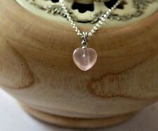 "Heart shape Sterling silver Rose Quartz gemstone pendant  18"" trace chain,"