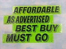 $ CAR DEALER 4 dozen AUTO WINDOW STICKERS ADVERTISE SLOGANS #8 green/black