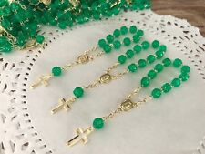 50Mini Rosary Green Baptism Favors /gold/ Communion Favors/ Recuerdos De bautizo