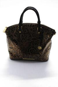 Brahmin Womens Leather Metallic Floral Brown Large Satchel Crossbody Handbag