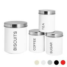 4x Kitchen Storage Canisters Set Tea Coffee Sugar Biscuit Jars Metal White