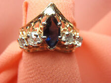 14k Yellow Gold Diamond & Marquise Blue Sapphire Princes Crown Ring Size 5 1/2