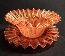 Phoenix Antique Nailsea Venetian Thread Optic Pull Up Finger Bowl & Saucer Mint