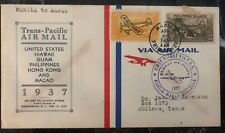 1937 Manila Philippines First Flight Cover FFC to USA Via Macau Transpacific