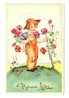 CPSM Fantaisie Bonne Fête Fillette et roses illustration