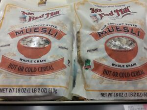 4 X Bobs Red Mill Muesli Whole Grain Hot or Cold Cereal, 18 oz Each