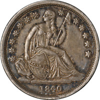 1840-P Seated Liberty Dime 'No Drapery' Nice AU Nice Eye Appeal Strong Strike