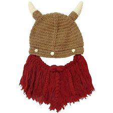 Knit Wool Viking Beard Hat: Adjustable Removable Ski Mask horns mustache brown