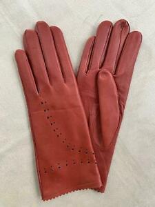 Handmade Women's Driving Unlined Italian Napa Leather Lambskin Red Gloves