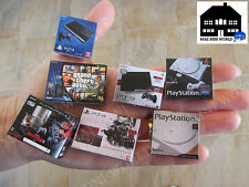 Set 7 Video consoles miniatura. PS3, PS4, Playstation, GTA V, Metal Gear Solid..