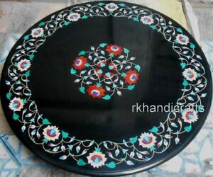 Royal Gemstones Inlay Art Dining Table Top Round Marble Living Room