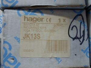 HAGER JK13S ISOLATING SWITCH KIT 100A TP FOR INVICTA 63 INCOMING KIT