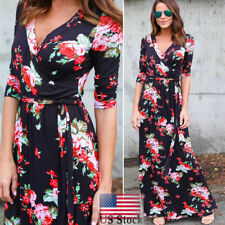 Women�€˜s Fall Boho Long Maxi Evening Party Beach Dress Floral V-Neck Sundress US
