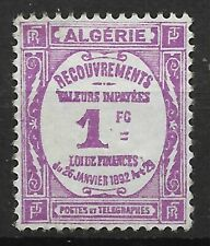 ALGERIE TAXE RECOUVREMENT 1F LILAS N° 19 NEUF * GOMME COULEE AVEC CHARNIERE