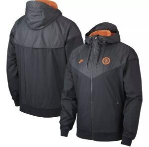 Nike Chelsea FC 2019-2020 AW Adult Large Soccer Windbreaker Jacket Black Orange