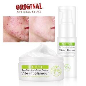2pcs Tea Tree Anti Acne Cream + Serum Face Shrink Pores Eliminate Acne Scar Skin