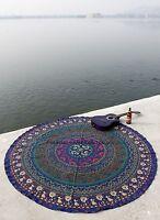 "Indian Mandala Round Roundie Beach Tapestry Throw Yoga Mat 72"" Table Cover Boho"