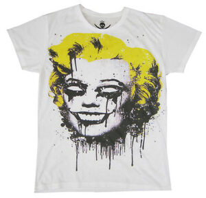 Mens Punk Marilyn Rock Cool Pop Gothic Manga Retro Vintage Munroe White T-shirt