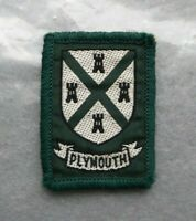 Vintage Plymouth cloth Scouts badge, 2 x 1.5 inches.