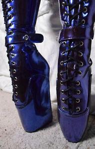 Lockable 7in Shiny Blue Ballet Heel Fetish Kink Boots New