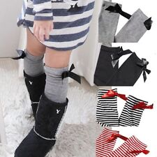 Baby Girls Knee High Length Socks Christmas Cotton Striped Bow World Book Day