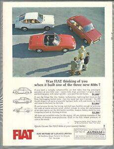 1966 FIAT 850 advertisement, Canadian print ad, 850 coupe, sedan, Spider