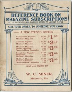 1911 United News & Stationery Co. American Magazine Subscriptions Catalog
