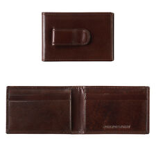 Johnston & Murphy RFID Italian Leather Two-Fold Money Clip Wallet Mahogany 13054