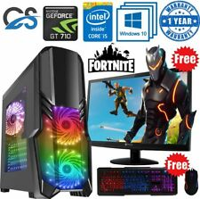 Fast Gaming PC Computer Bundle Intel Quad Core i5 16GB 1TB Windows 10 2GB GT710