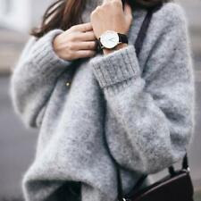 Women's Korean Style Fashion Pure Color Loose Cotton Knitted Sweaters LG