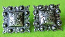"New listing Vintage Unused Pair of 1"" Square Silver Conchos~Bridle Bit End~Spur Straps~Nr"