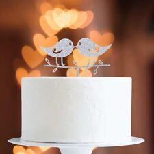 Silver Glitter Lovebirds Cake Topper x1 Baking Pick Decoration Wedding