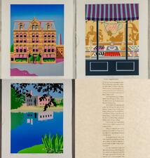 Set of 3 Oren Sherman's Boston Neighborhood Lithograph Prints Limited Signed
