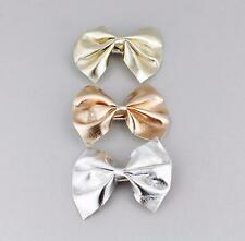 """3 faux leather bow barrette metal hair clip 2.5"""" wide Silver Rose Gold set of 3"""