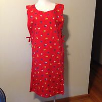Vintage Style Apron w/ Side Ties - Red Floral - Size Sm/Med