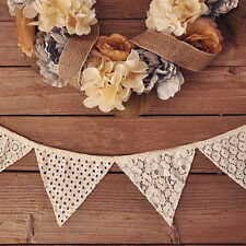 "New 98"" 2.5M Vintage Lace Flag Banner Bunting Home/Wedding/Birthday Party Decor"