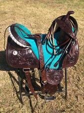 """Western Treeless Horse Saddle Turquoise - 14"""", 15"""", 16"""""""