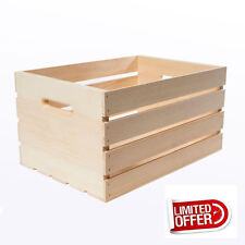 "Wooden Box 18"" Large Wood Crate Rustic Wood Vintage Storage Box Crates & Pallets"