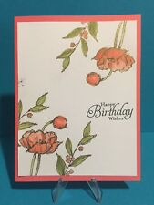 "Card Kit Set Of 4 Stampin Up ""Happy Birthday"" Watercolor Simply Sketched Gold"