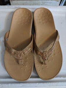 VIONIC Pacific HighTide Thong platform wedge Sandals Gold Cork sz 10 excellent