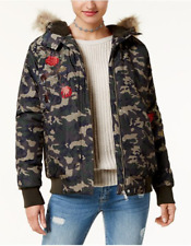 AMERICAN RAG Womens Juniors Floral Olive CAMO BOMBER JACKET Faux Fur Hood XS $99