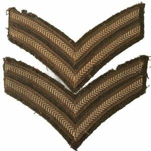 WW1 British Corporal Chevron Cloth Stripes Insignia Rank Patch PAIR - TF32