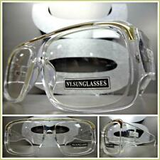 Men's VINTAGE HIP HOP RAPPER Style Clear Lens EYE GLASSES Transparent Gold Frame